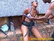 Милой чёрной молодухе с маленькими титьками нравится, как мужик делает это и шлёпает её по груди и пиздёночке 4