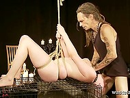 Chick came to hairy boyfriend for business but they only know their business is BDSM oral scoring 7