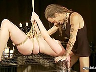 Chick came to hairy boyfriend for business but they only know their business is BDSM oral scoring 9