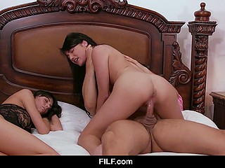 Teen brunette's stepmom finds a handsome fucker and girl is having sex with him while woman is sleeping