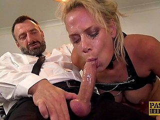 Bearded man Pascal from the UK turns blonde MILF into a personal slut and fucks the way she deserves