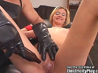 Man tied up blonde girl with small boobs and nipples who stayed still while he was electrocute her fun parts