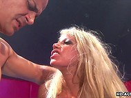 Dance floor turns into a place where bald man fucks both holes of blonde whores with big tits 7