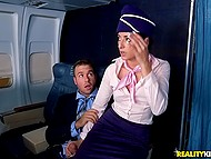 Stewardess becomes passenger's personal hospitality attendant and man fucks brunette in the cabin 4