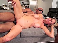 Blonde mature woman is fucked in vagina by big black cock that erupts cum on her face 11
