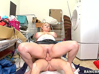 Voluptuous blonde Shyla Shy actively jumps on partner's erect meatstick right in the washroom