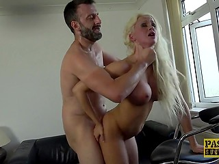 Master roughly nails blonde slut with huge boobs Cindy Sun making her scream with pleasure