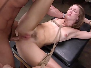 Brave slut Ella Nova not afraid to be tied up and impaled roughly in all her welcoming holes