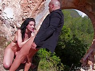 Abandoned shambles are perfect place for bald bruiser to nail attractive brunette in all her holes 10