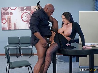 Bank branch manager Angela White with huge natural tits convinces black man to take off pants and he fucks bitch's twat