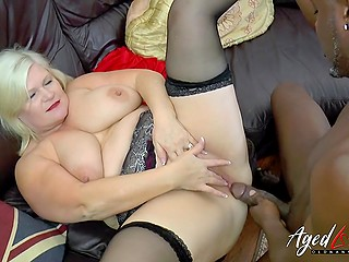 Unsatisfied blonde BBW mature Lacey Starr invites black lover at home to try anal penetration