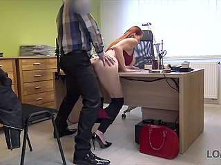 Czech female veterinarian with red hair and big tits lets bank employee fuck her for a loan