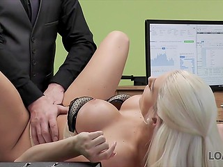 Smart loan shark with ease entices luxurious blonde Blanche Bradburry into spontaneous fuck