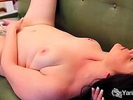 Pleasant brunette BBW with pierced nipple gently masturbates pussy before takes vibrator 9