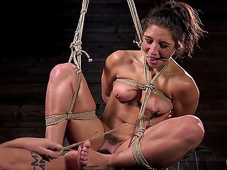 Arousing chick Abella Danger with slim waist wanted to be humped but torturer wanted no fucking and just fingered her