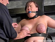 Man tortures innocent chubby making her face express pain when he snaps the rubber on her numb hooters 7