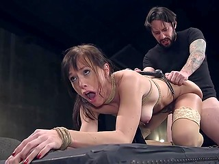 Porn actress Alana Cruise and bearded man act in BDSM scene where he assfucks tied up MILF