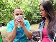 Girl has lost boyfriend's money and kind Czech man with camera will help them in exchange for sex 5