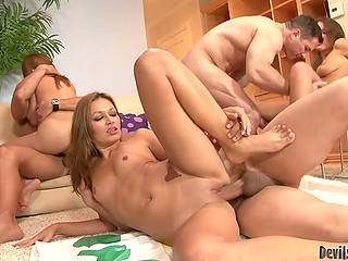 Wild orgasms of babes are inevitable when they start group pussy-nailing with friends