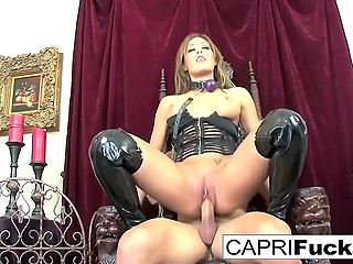 Rich man with muscled body brings a submissive girl to the throne and drills smooth pussy