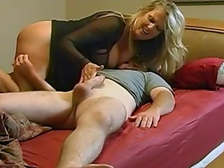 Young guy fucks appetizing blonde lady in her juicy slit