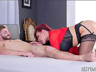 Spectacular mature lady Sexy Vanessa in stockings is going to suck cock well before fuck from behind