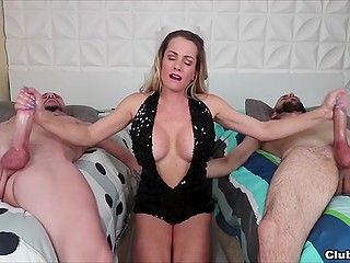MILF in black shining outfit strokes bearded men's cocks with hands and makes them cum