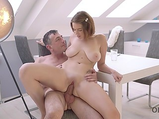 Cutie with big jugs Marina Visconti distracted by old lover who was in mood for sensual lovemaking