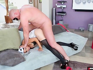 After party Asian woman in carnival mask crawls to husband to satisfy anal needs