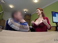 Bonny redhead shows boobies off to creditor and invites him to get it on with her for money 5