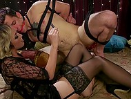 Stunning female stimulates young man's anus with strapon, rides and makes him cum with hands 4