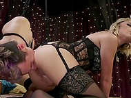 Stunning female stimulates young man's anus with strapon, rides and makes him cum with hands 6