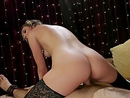 Stunning female stimulates young man's anus with strapon, rides and makes him cum with hands 9