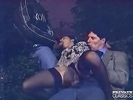 Males and dirty girl found a quiet place in the park to fuck together in the dead of night 6