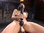 Asian girl is on her way to bright orgasm that will be reached thanks to fucking machine and powerful vibrator 10