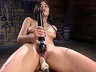 Asian girl is on her way to bright orgasm that will be reached thanks to fucking machine and powerful vibrator 11