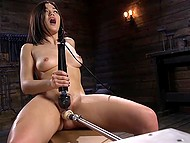 Asian girl is on her way to bright orgasm that will be reached thanks to fucking machine and powerful vibrator 8
