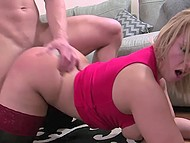 British woman in red dress and stockings is fucked in doggystyle after she sucks partner's dick 9