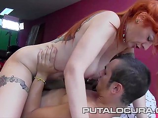 Spanish porn video where guy has to fuck older redhead with pierced nipple and tattoos
