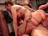 Attractive pornstar Britney Amber will be fucked by five guys but it is an easy thing for her 10