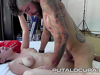 Tattooed buddy stretches girlfriend with perky tits Eva Madrid and in the end leaves cum in her mouth