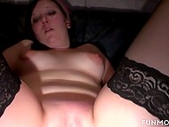 Sexy female fucked by husband's cock and dildo then giving him blowjob in a sex shop 9