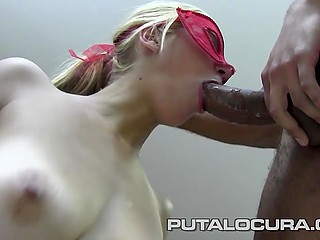Masked blonde left with mouthful of man juice after awesome fuck with excited black partner