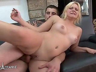 Two guys fuck holes of French blonde in turn and fist girl's vagina using hands and feet