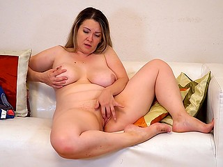 Pretty woman with big tits masturbates excited pussy because it's the easiest way to satisfy it