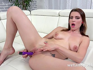 Orgasm is so close because babe is shoving vibrator inside wet slit with all her passion