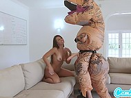 Tanned girl on hoverboard tries to run away from big dinosaur but she is caught and treated with strapon 4