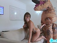 Tanned girl on hoverboard tries to run away from big dinosaur but she is caught and treated with strapon 5