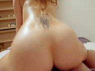 Slender masseuse wants to be inseminated and she uses muscled client to reach this goal 4