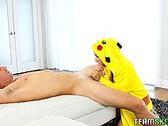 Popular mobile game fan catches Pikachu girl and she rides massive cock after blowjob 7